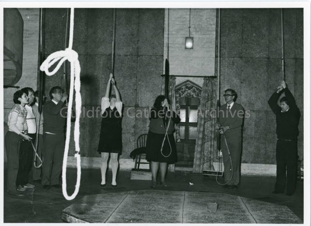 The bell chamber and bell ringers