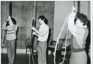 Bell ringers in the bell chamber