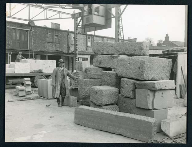 Stone blocks in yard