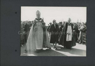 Princess Margaret with the Bishop of guildford and Provost Boulton