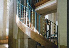 Close up photograph of the Organ Loft Ladder