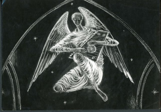 Photograph of the design of the Angel with Psaltery for Guildford Cathedral by John Hutton
