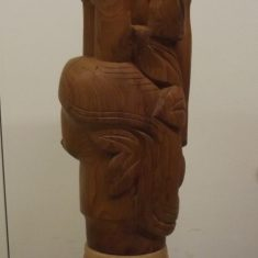 Carved column with doves