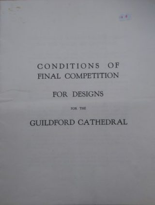 Front cover of the booklet of Conditions of Final Competition for Designs for the Guildford Cathedral