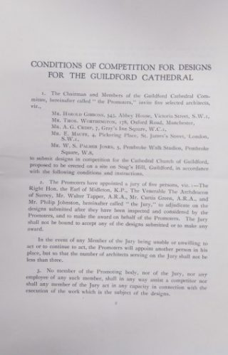First page of the Conditions of Competition for Design for the Guildford Cathedral